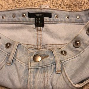 Forever 21 Shorts - Forever 21 size 26 silver studded ripped shorts